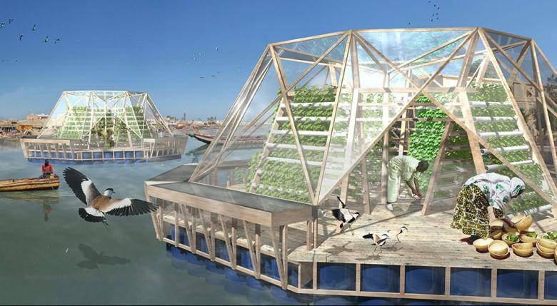 La «barge méduse» produit des légumes bio et purifie l'eau