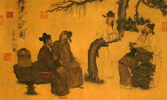 Le point de vue chinois est souvent très différent du nôtre. Ici une peinture d'inspiration nettement confucéenne. Les rapports humains policés sont le sujet même de l'oeuvre