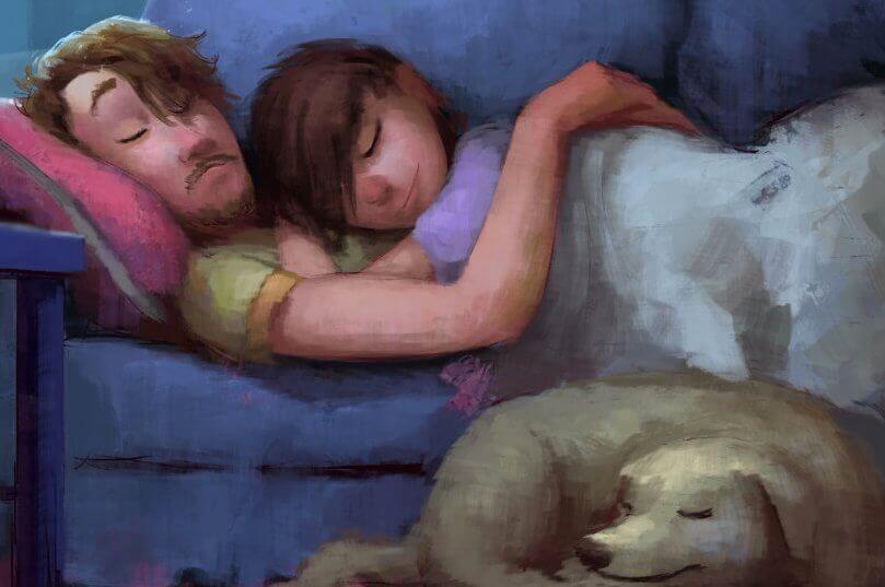 pareja-abrazada-en-un-sofá-disfrutando-de-las-cosas-sencillas-de-la-vida