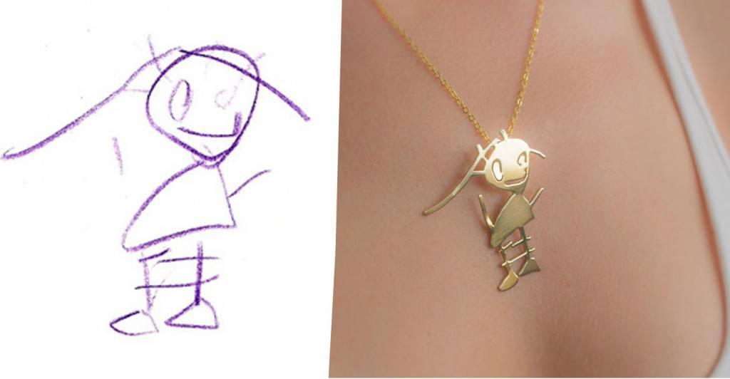 Bijoux Dessin des créateurs transforment les dessins d'enfants en de beaux bijoux