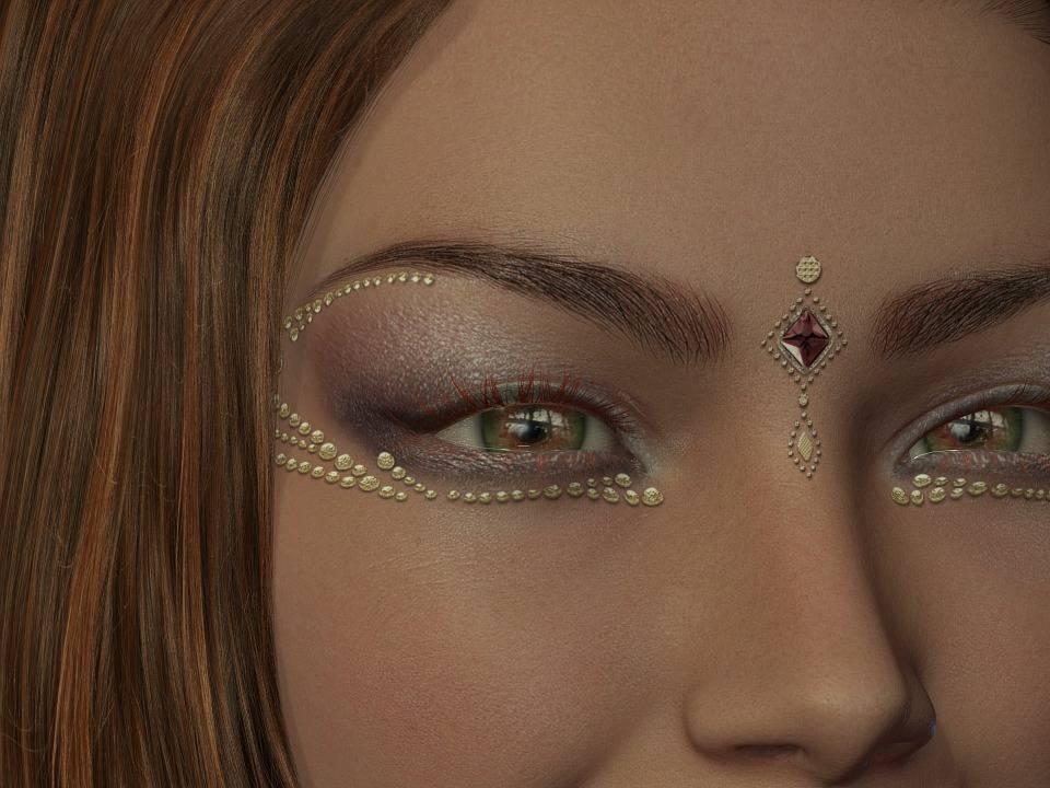 Femme, Maquillage, Tête, Œil, Beauté, Bijoux De Visage