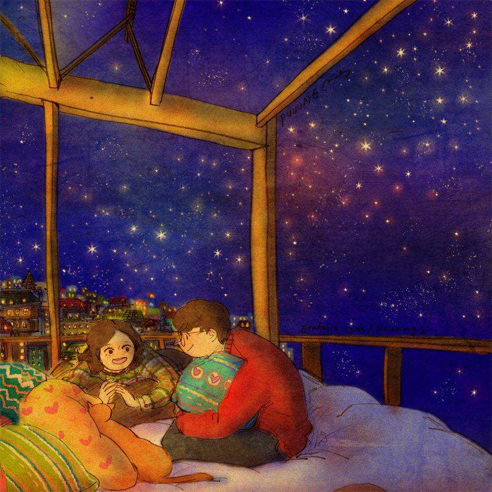 Chatting Under The Stars Loveis By Puuung
