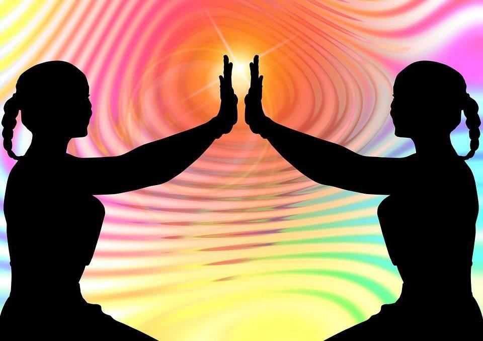 Silhouette, Femme, Méditation, Intérieur, Harmonie