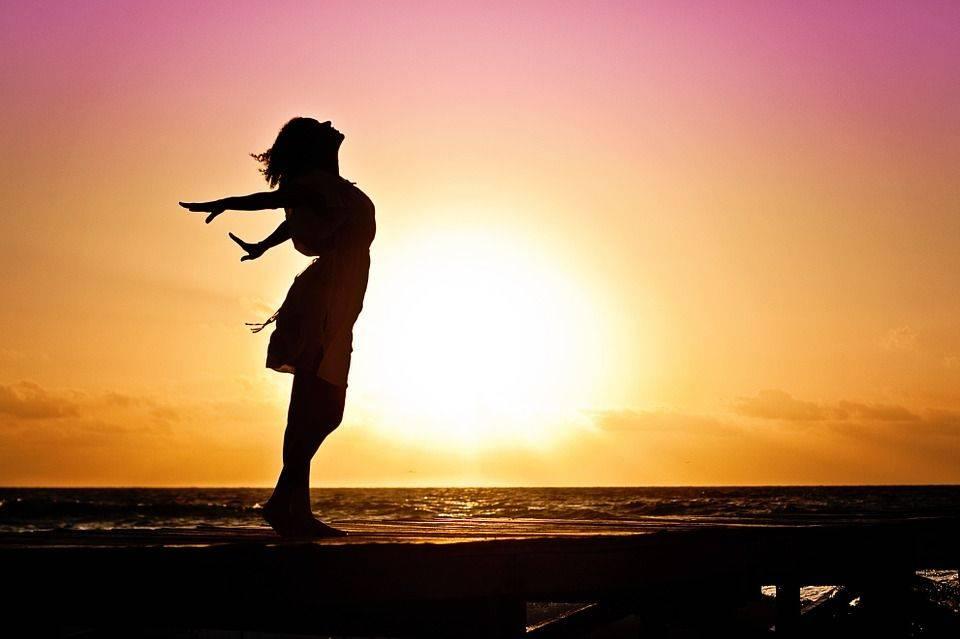 Femme, Le Bonheur, Lever Du Soleil, Silhouette, Robe